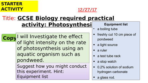 AQA new specification-REQUIRED PRACTICAL 6-Photosynthesis-B8.2