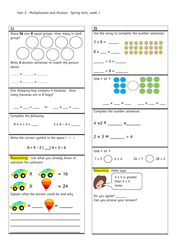 Question strips to go with year 3, Spring block 1 - Multiplication and division (1)