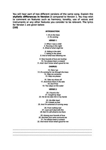 Eduqas A Level Music Rock Pop Comparison Sample Question Hounds