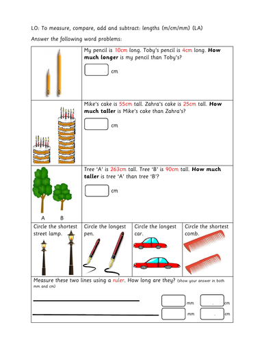 year 3 differentiated worksheets length by busyprimaryteacher247 teaching resources. Black Bedroom Furniture Sets. Home Design Ideas
