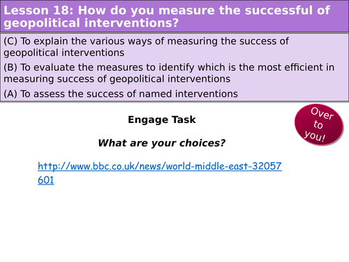 Edexcel A2: Topic 8A- Human health...L20 - Measuring the success of geopolitical interventions