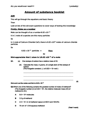 A level Chemistry - FULL Amount of substance booklet with theory, examples and specific questions