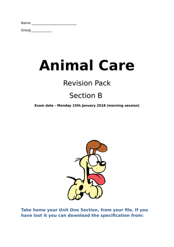 Animal Care Unit One Section B Revision Questions