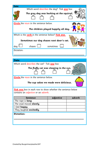 5 SPaG question strips for years 3 and 4 (set 1)