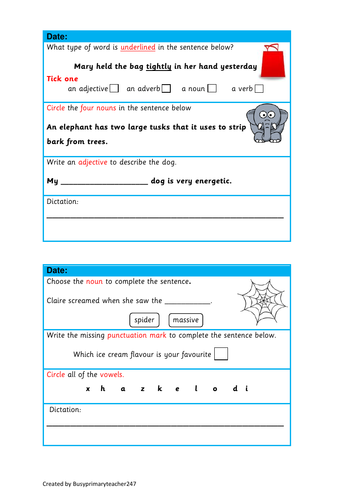 5 SPaG question strips with dictation sentence - year 3 and 4 (set 2)