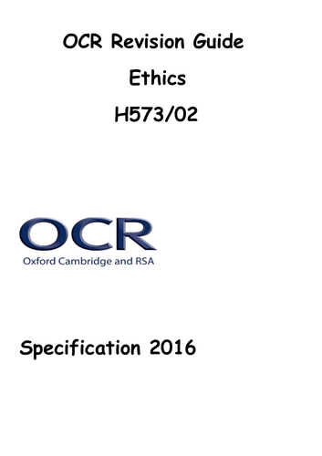 OCR A2 Ethics Revision Guide Specificition 2016