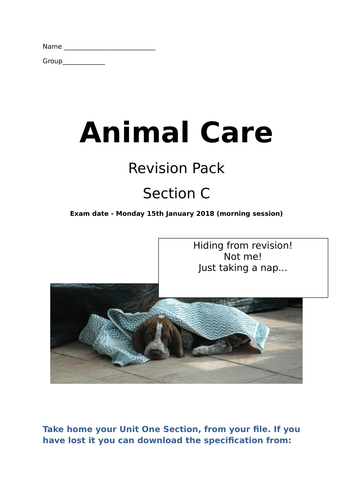 Animal Care Unit One Section C revision questions
