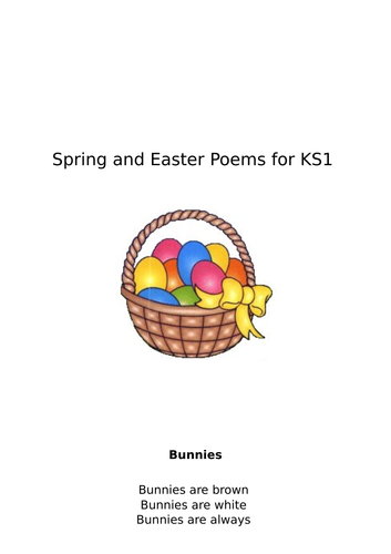 A collection of Poems about Spring and Easter suitable for KS1 and EYFS