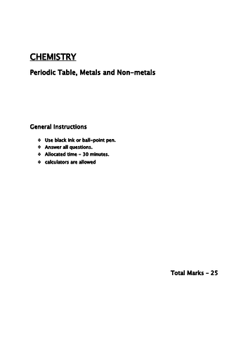 Periodic table, Metals and Nonmetals year 7/8/9