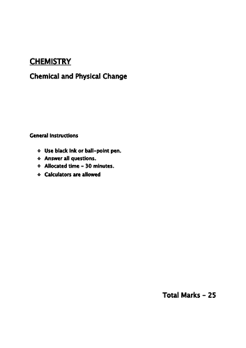 Chemical and Physical properties/ reactions year 7/8/9