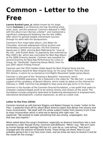Common - Letter to the Free. AQA AS Media Studies Booklet