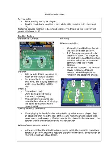 Badminton doubles tactics and movement