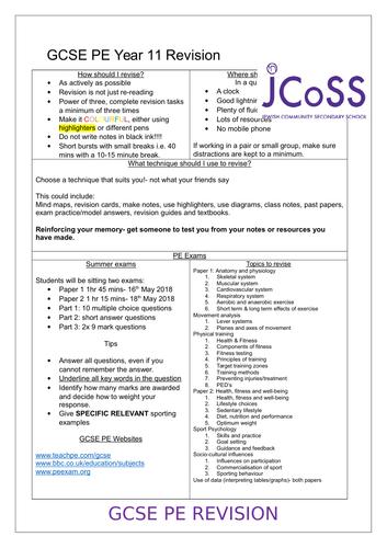 Edexcel GCSE PE Year 11 Revision/Exam handout