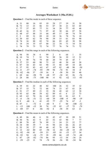Foundation Averages worksheet (Ma.05.01)