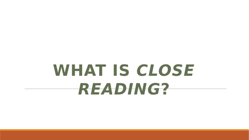 Close Reading: for higher level students