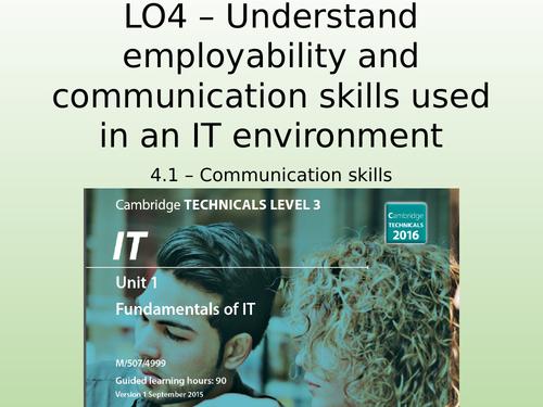 OCR Cambridge Technicals in IT - Unit 1 - 4.1 -Communication skills