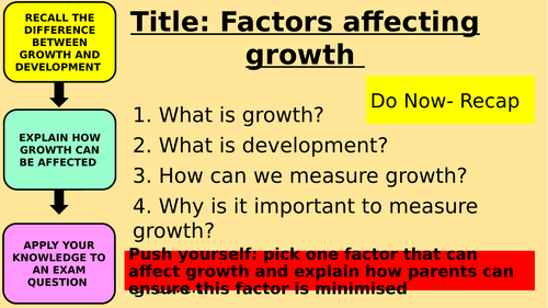 Unit 1 Patterns of Child Development- Factors affecting growth