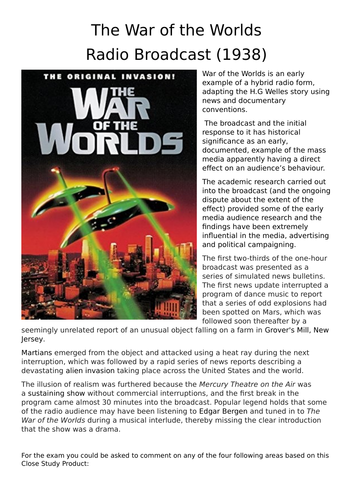 AQA AS Media Studies - War of the Worlds booklet