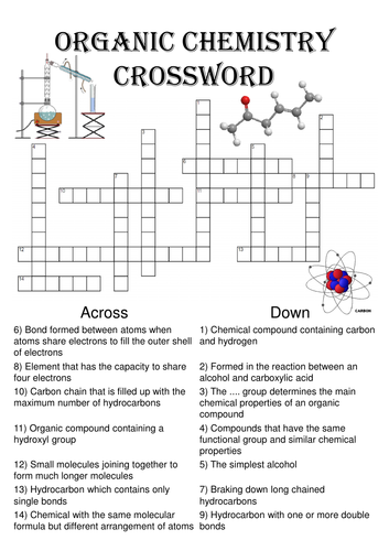 Chemistry Crossword Puzzle: Organic Chemistry (Includes ...