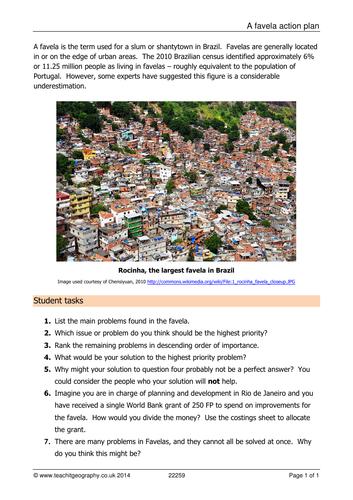 Urbansation Lesson 7 - How to improve a favela