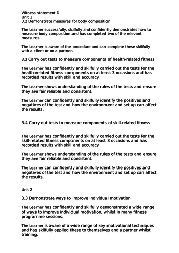 V CERT Health and fitness Level 2 Witness statement sentences for Unit 1,  2, 4