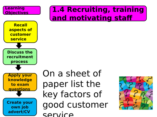 Recruiting, training and motivating staff