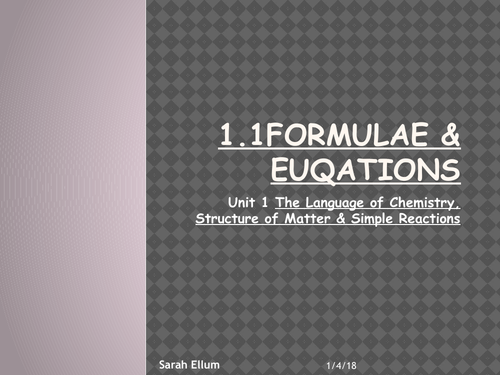WJEC AS 1 1 Formulae & Equations UNIT