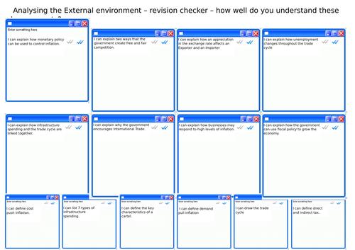 External Environment Worksheets