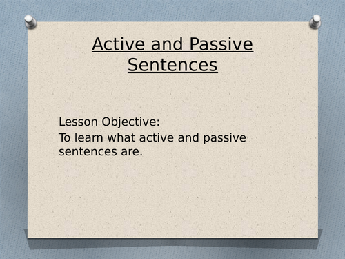 Active and Passive for Year 6 SATs