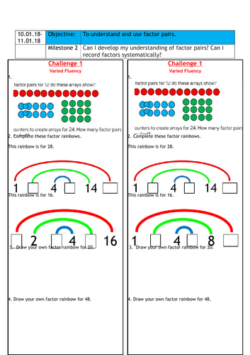 Factor Pairs Year 4 White Rose Teaching Resources
