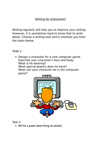 KS 2 Independent writing activities perfect for home learning
