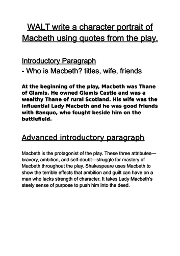 Writing a character portrait of Macbeth - example paragraphs,