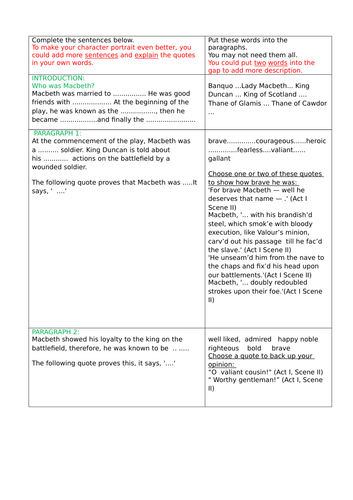 A worksheet pack aiding pupils to write a character portrait of Macbeth with quotes from the orignal