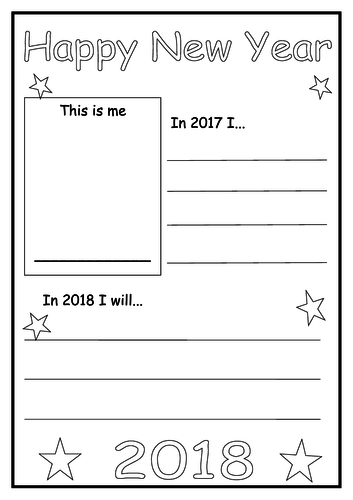 Happy New Year Resolution Sheet with 2017 Reflection