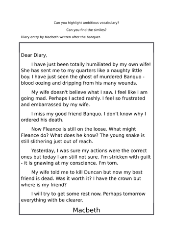 Macbeth's diary activity and homework task