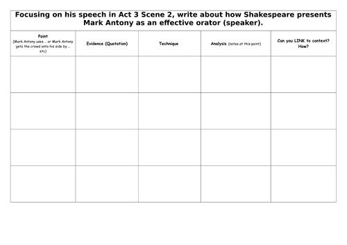 KS3 Lesson 4: Shakespeare's Villains: Julius Caesar Marc Antony's Speech