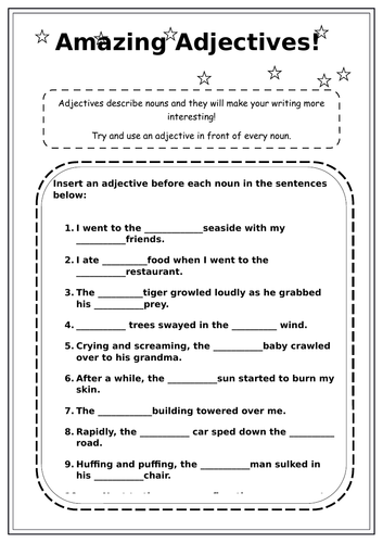 Adjectives worksheet KS2 by raveenak1 - Teaching Resources - Tes