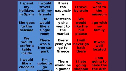 Claim the parcel translation game Mes Vacances 1 New GCSE Studio AQA