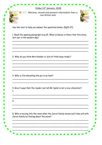 Year 6 street child reading comprehension