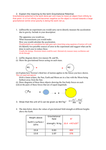 Answers to A-level Gravitational fields notes and question booklet.
