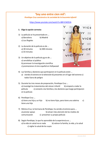 Spanish video worksheet: Penelope Cruz - Trabajo benéfico (Influencia de los ídolos)