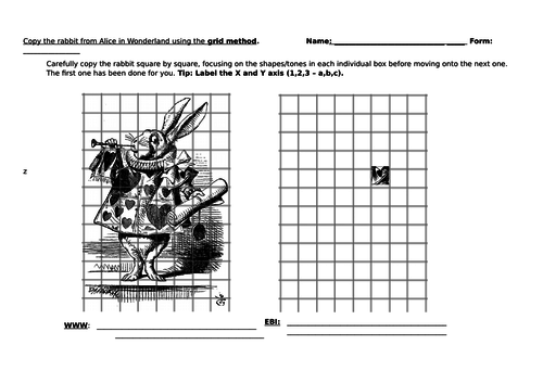 Alice in Wonderland Rabbit Grid Method Worksheet - Art and Design - Ideal Homework or Cover Lesson
