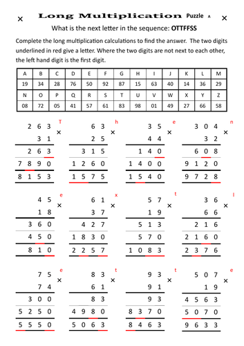 Long Multiplication Puzzle