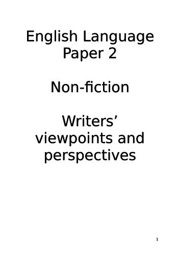 AQA GCSE Language Paper 2/Non-fiction Unit
