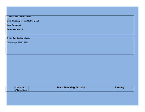 Getting on and faling out - SEAL Lesson plans Year 4
