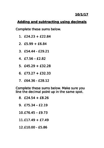 Adding and subtracting money using decimals MASTERY