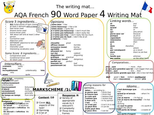 GCSE AQA New Spec French Writing Mat - 90 Word