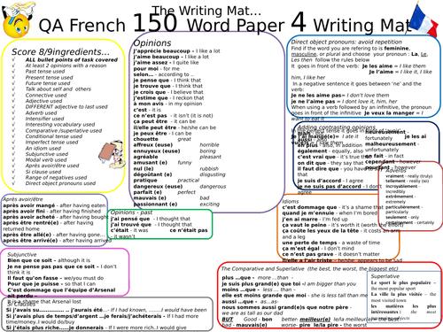 GCSE AQA New Spec French Writing Mat - 150 Word