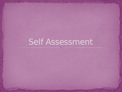 Self and Peer Assessment Resource