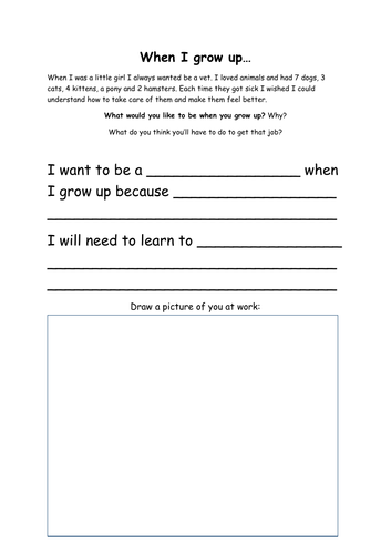 'When I grow up...' Differentiated Writing Task